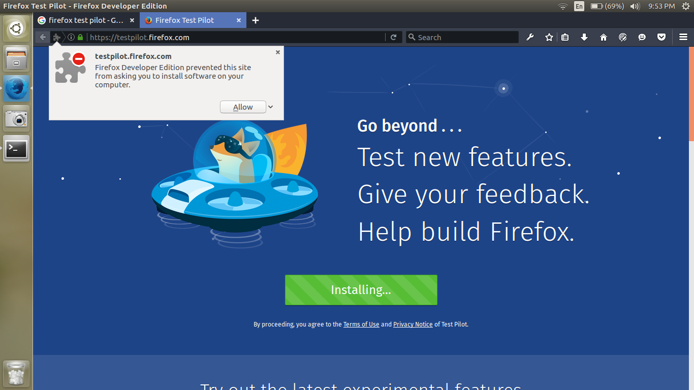 Firefox Test Pilot add-on popup